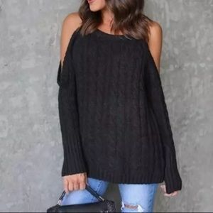 Sweaters - ADALYN Cold shoulder black sweater